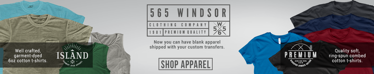 Now you can have blank Island and Premium apparel shipped with your custom transfers.