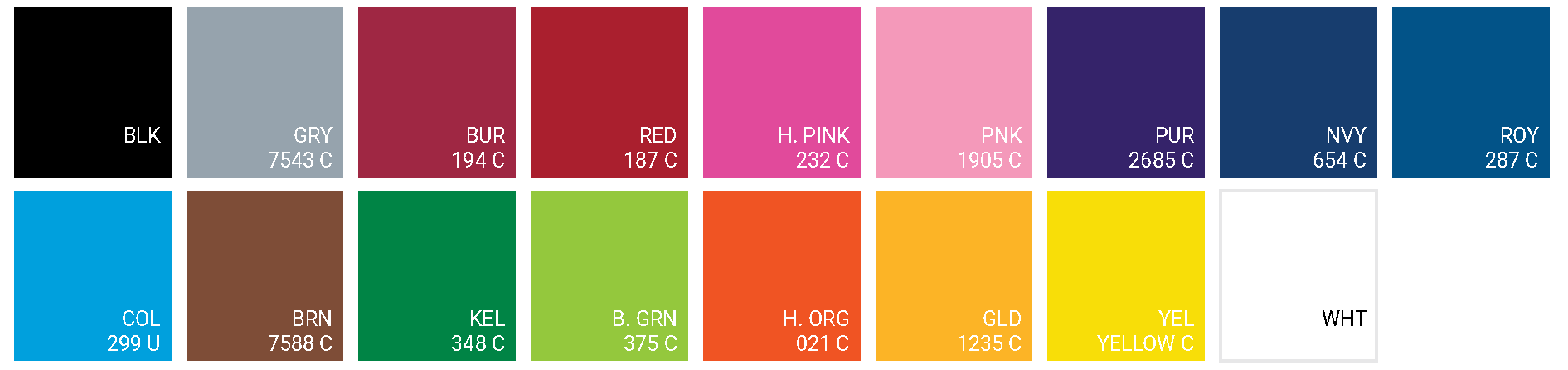 Stock Color Chart